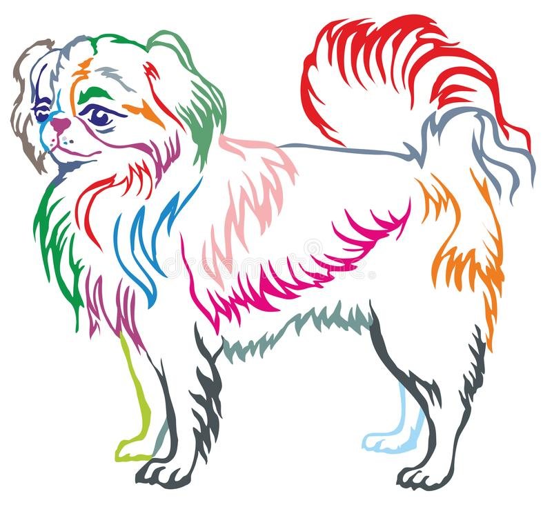Colorful decorative standing portrait of Japanese Chin. Colorful contour decorative portrait of standing in profile dog Japanese Chin, vector isolated royalty free illustration