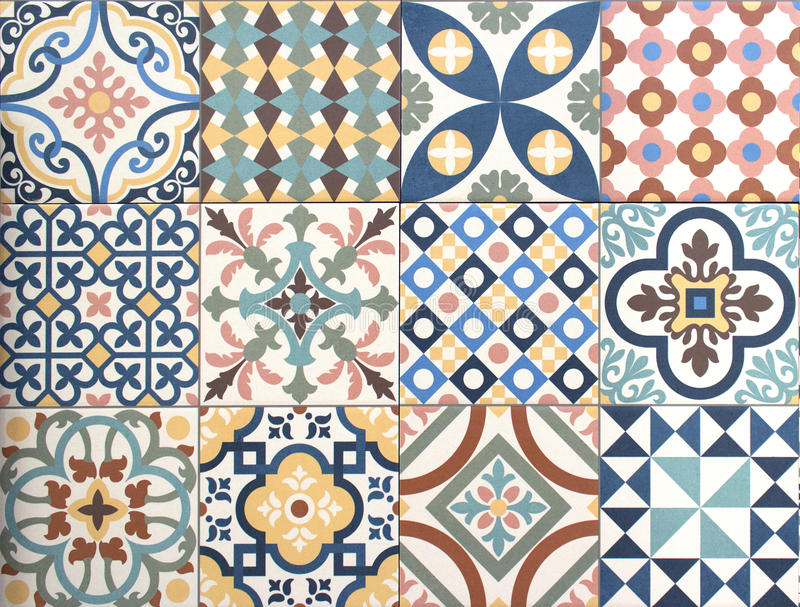 Colorful, decorative tile pattern patchwork design. Background royalty free stock photography