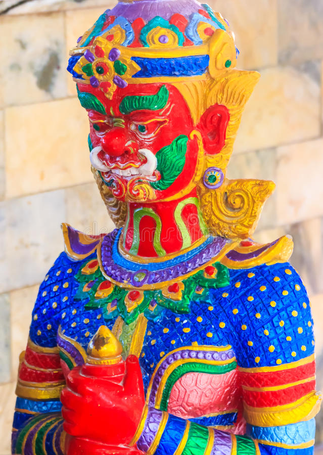 Colorful demon in Wat Nong Hoi Temple royalty free stock images