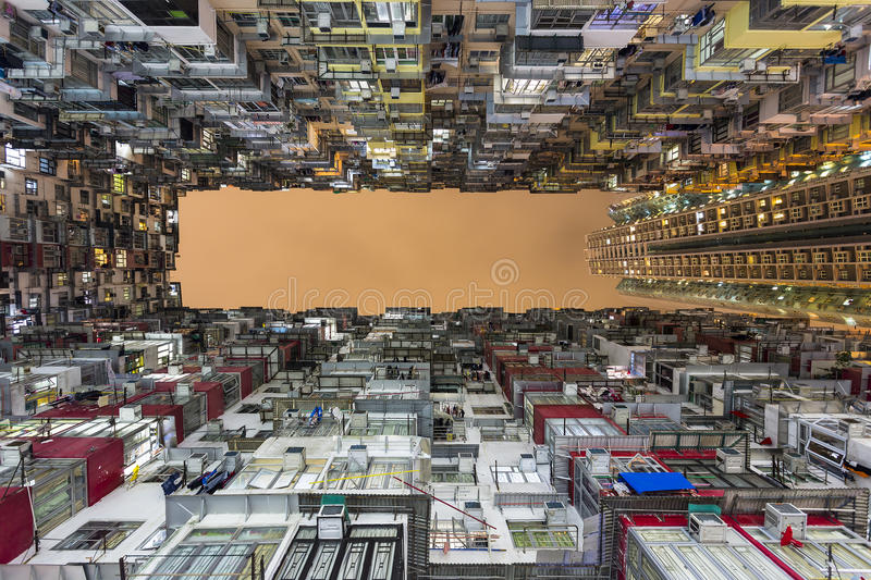 Colorful and Dense Apartment Building in Quarry Bay, Hong Kong. Density living in an apartment building at Quarry Bay, Hong Kong royalty free stock photo