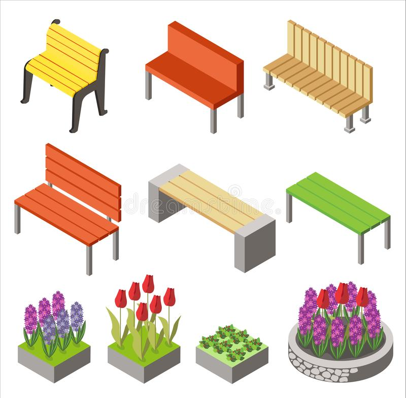 Colorful design of arranged isometric icons with benches and flowerbeds for city design isolated on white. royalty free illustration