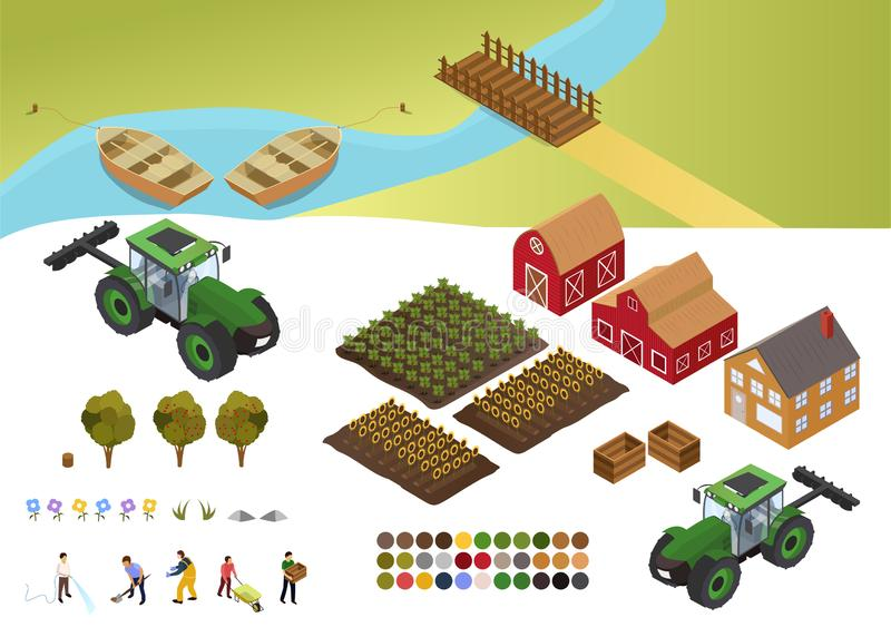 Colorful design elements for Farm and Agriculture with fields of crops, barn, farmhouse, farmers at various tasks vector illustration