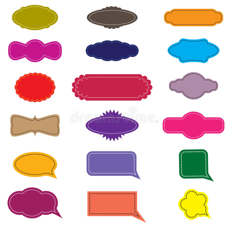 Colorful design retro frames and speech bubbles royalty free illustration