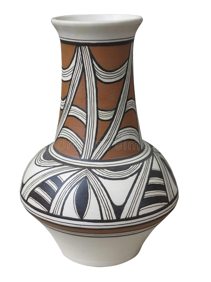 Colorful Designed Clay Vase Isolated Stock Image