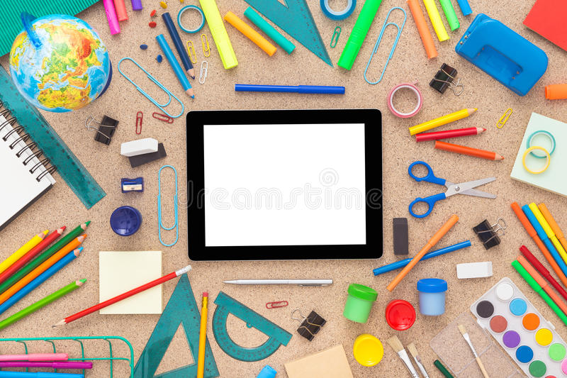 Download Colorful Desk With School Supplies. Top View. Stock Image   Image  Of Background