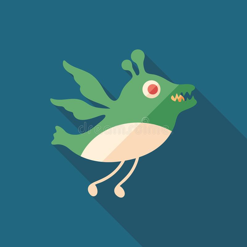Bird monster flat square icon with long shadows. vector illustration