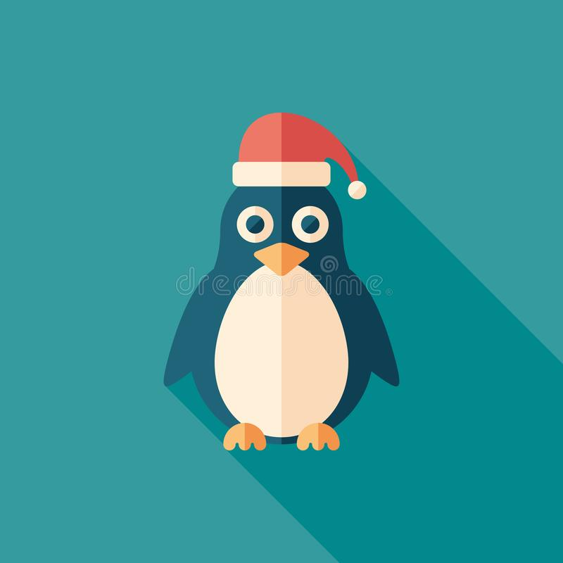 Christmas penguin flat square icon with long shadows. royalty free illustration