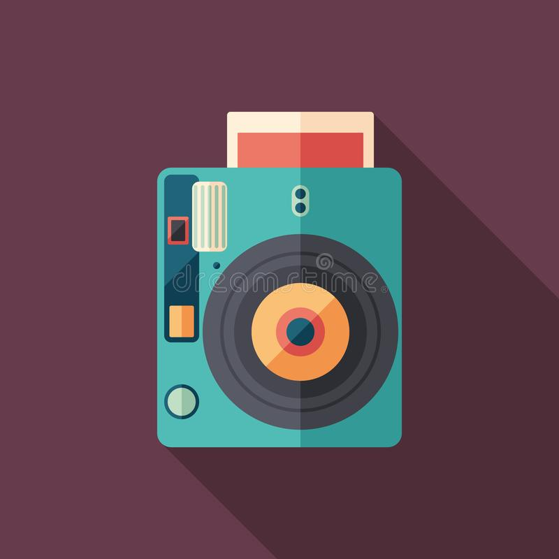 Hipster instant camera flat square icon with long shadows. stock illustration