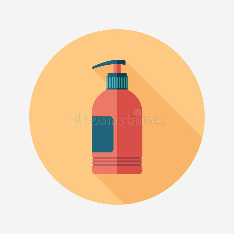 Liquid soap flat round icon with long shadows. stock illustration