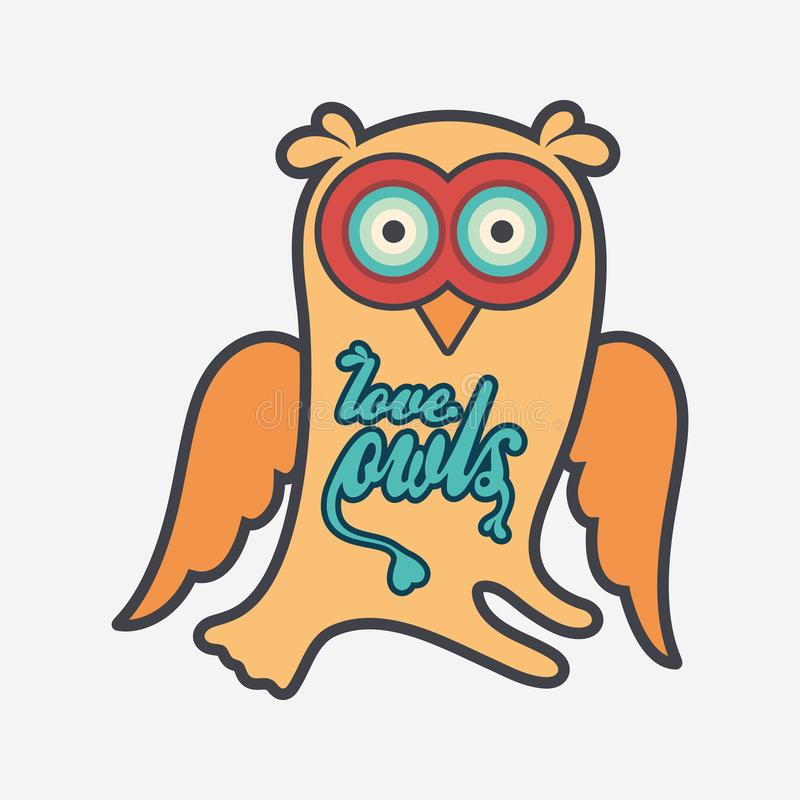 Owl flat color line icon on light background. royalty free illustration