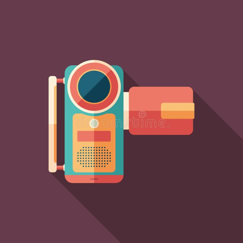 Portable digital video camera flat square icon with long shadows. royalty free illustration