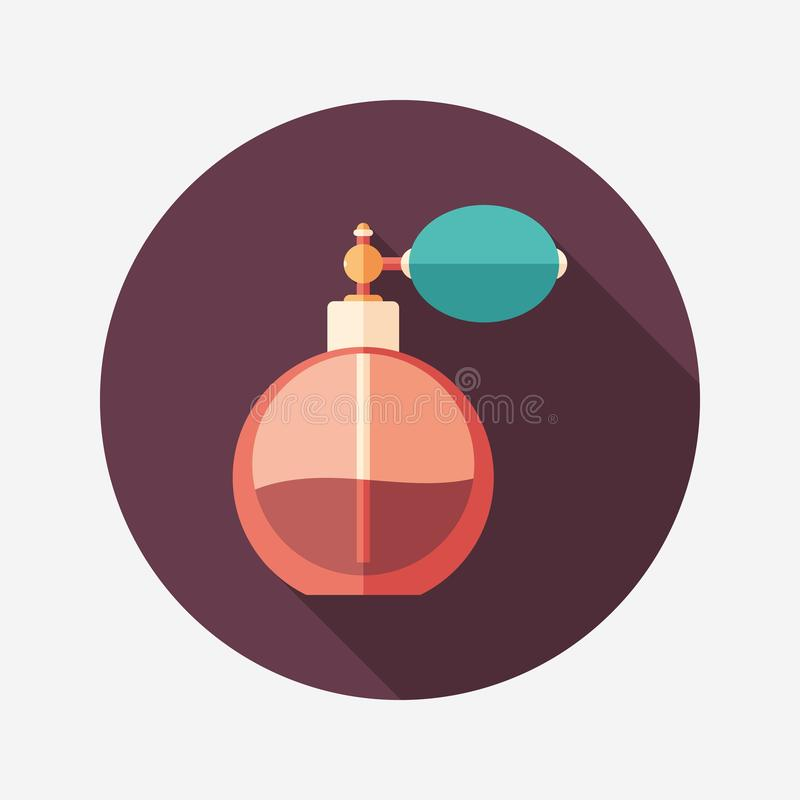 Retro perfume bottle flat round icon with long shadows. vector illustration