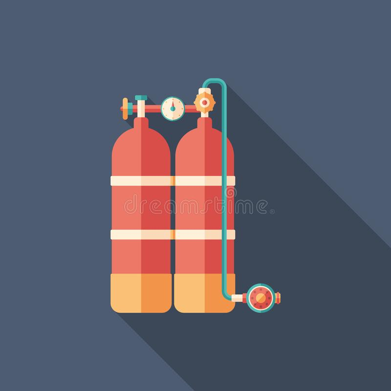 Scuba diving oxygen tanks flat square icon with long shadows. vector illustration