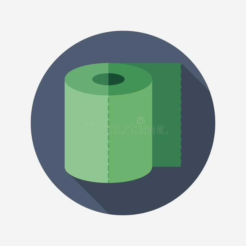 Toilet paper flat round icon with long shadows. royalty free illustration