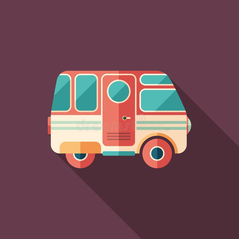 Vintage camper van flat square icon with long shadows. royalty free illustration