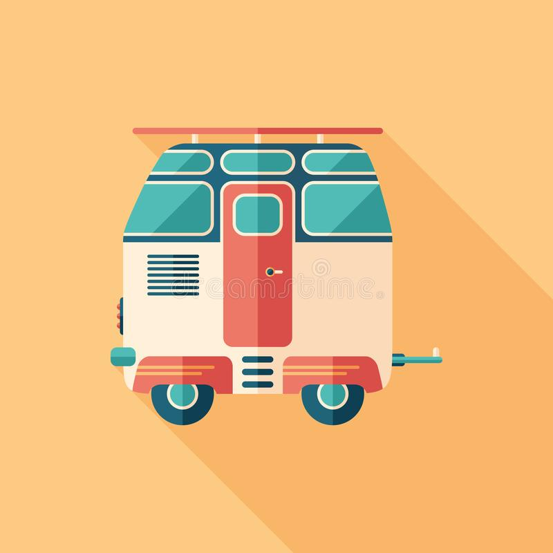 Vintage travel trailer flat square icon with long shadows. vector illustration
