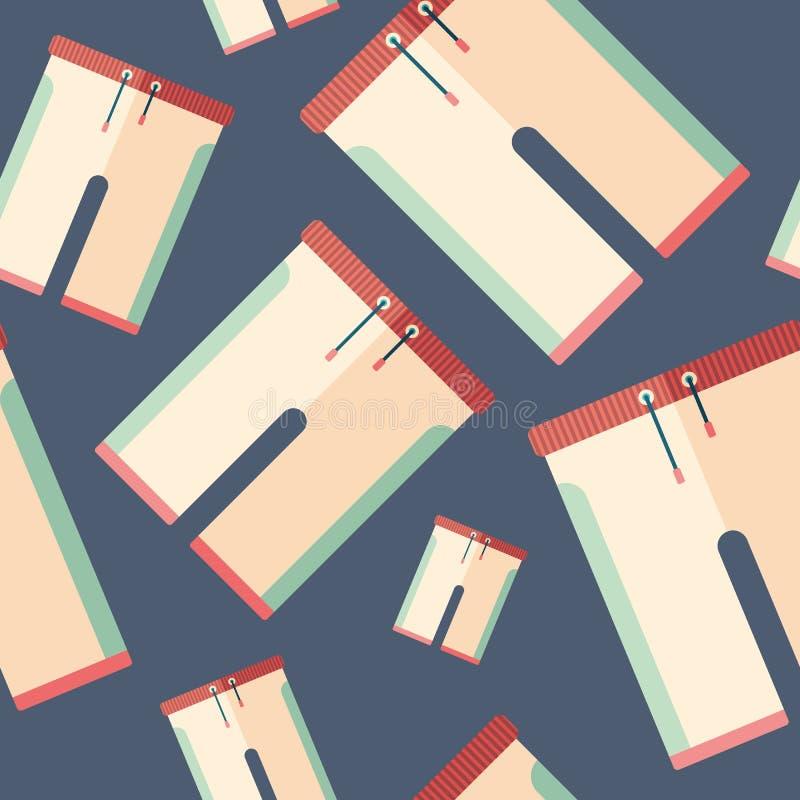 Beach shorts flat icon seamless pattern. stock illustration