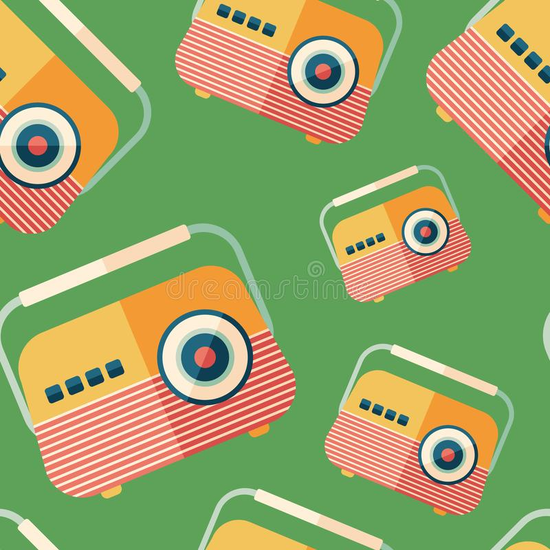 Classic portable radio flat icon seamless pattern. stock illustration