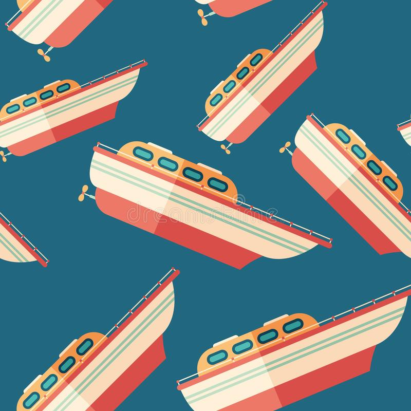 Motor boat flat icon seamless pattern. royalty free illustration