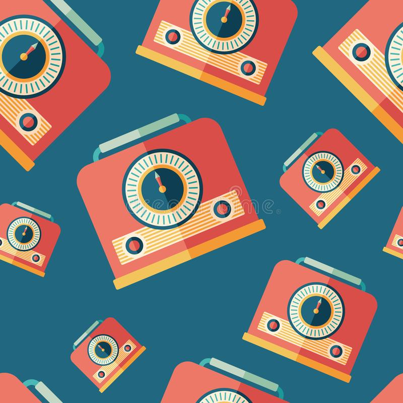 Red vintage radio with handle flat icon seamless pattern. vector illustration