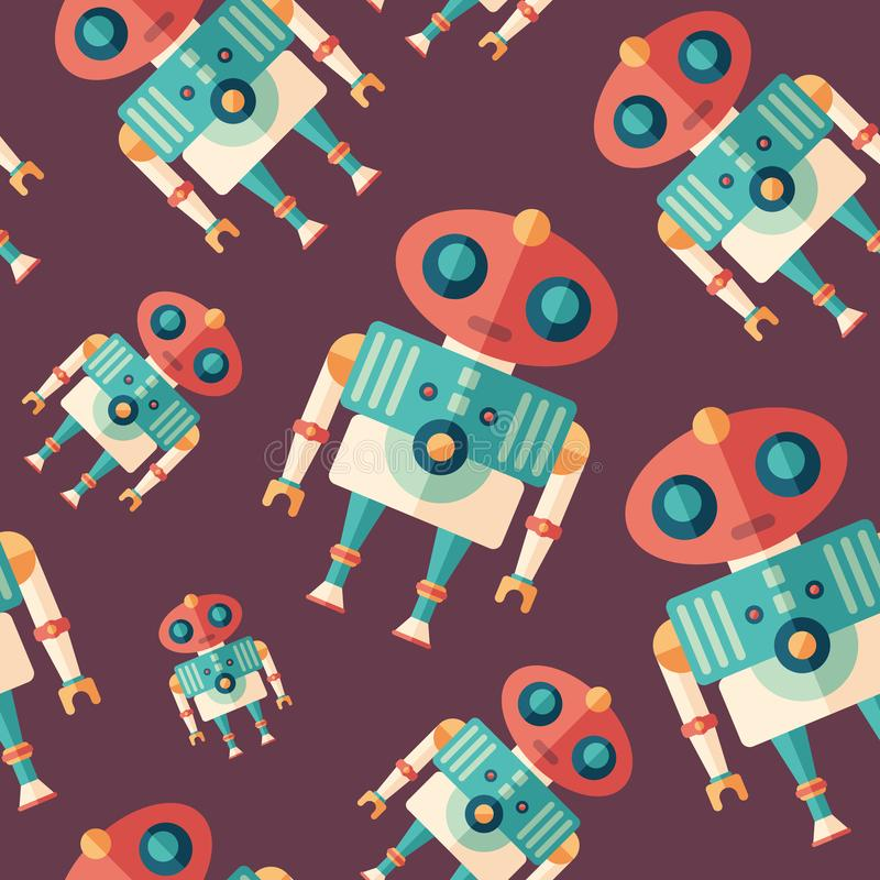 Robot alien flat icon seamless pattern. vector illustration
