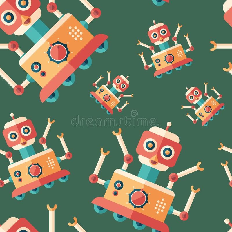 Robot bird flat icon seamless pattern. royalty free illustration