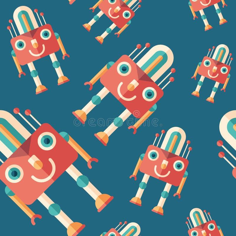 Robot lamp flat icon seamless pattern. royalty free illustration