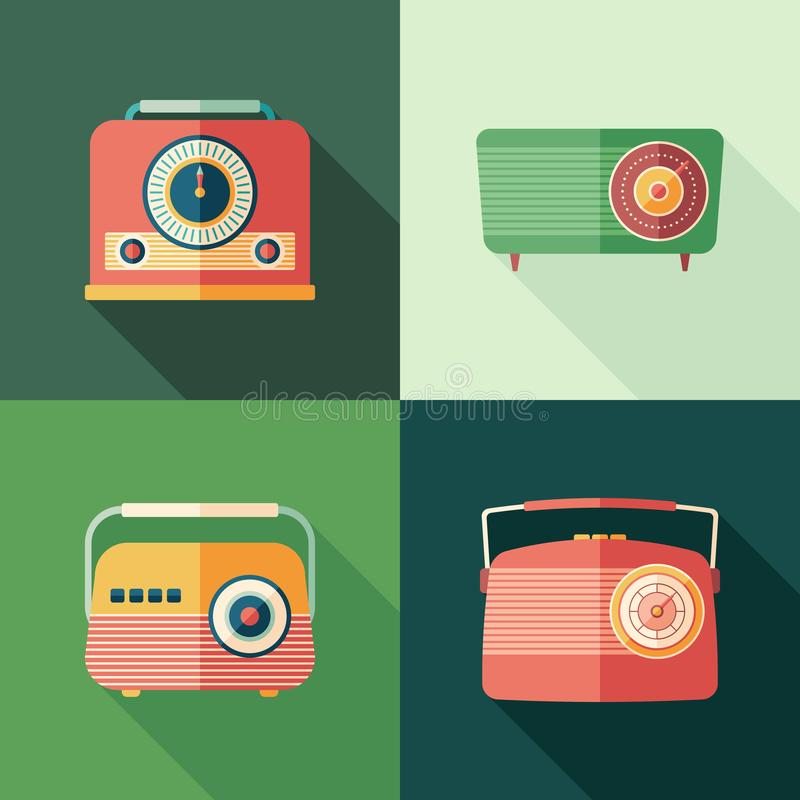 Set of vintage radios flat square icons with long shadows. stock illustration