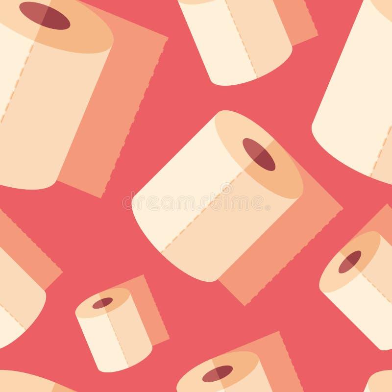 Toilet paper flat icon seamless pattern. royalty free illustration