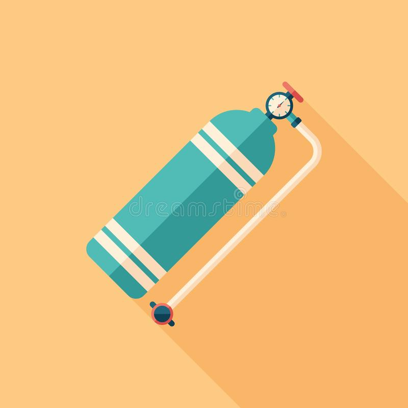 Colorful aqualung flat square icon with long shadows. royalty free illustration