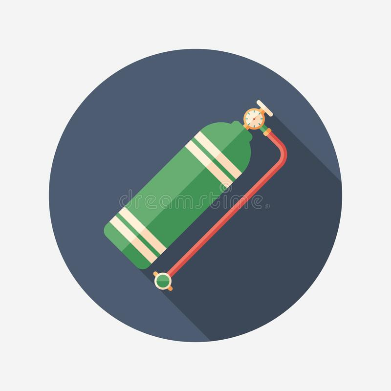 Aqualung flat round icon with long shadows. royalty free illustration