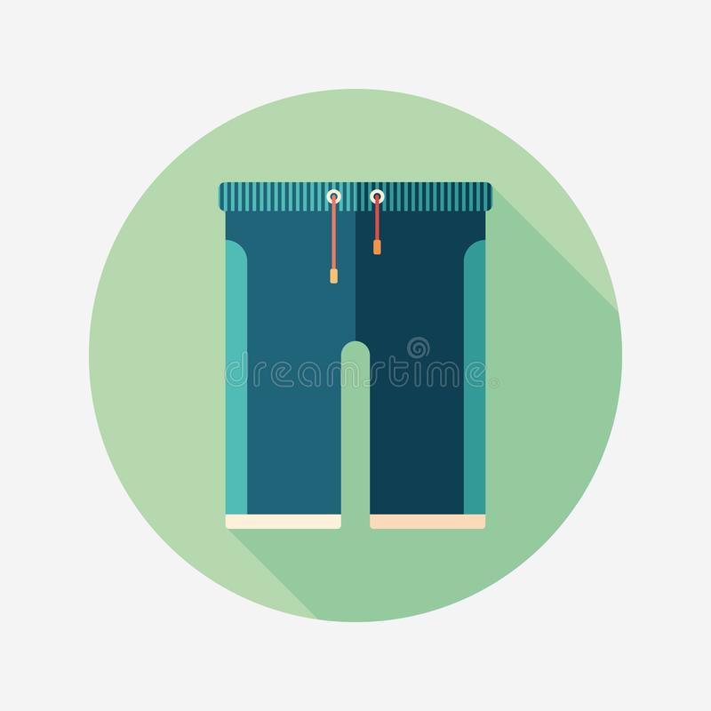 Colorful beach shorts flat round icon with long shadows. royalty free illustration