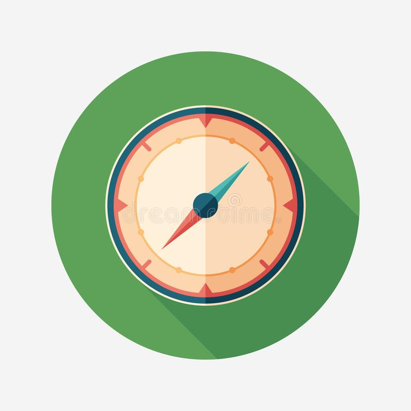 Mariner`s compass flat round icon with long shadows. vector illustration