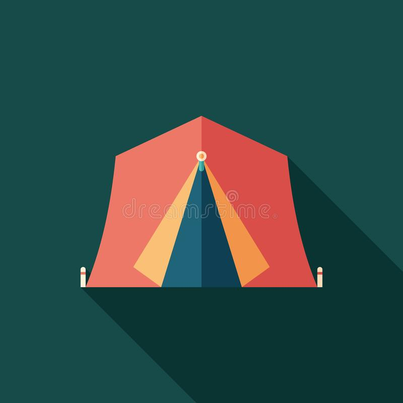 Red tourist tent flat square icon with long shadows. stock illustration
