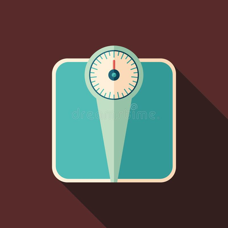 Retro bathroom scales flat square icon with long shadows. royalty free illustration