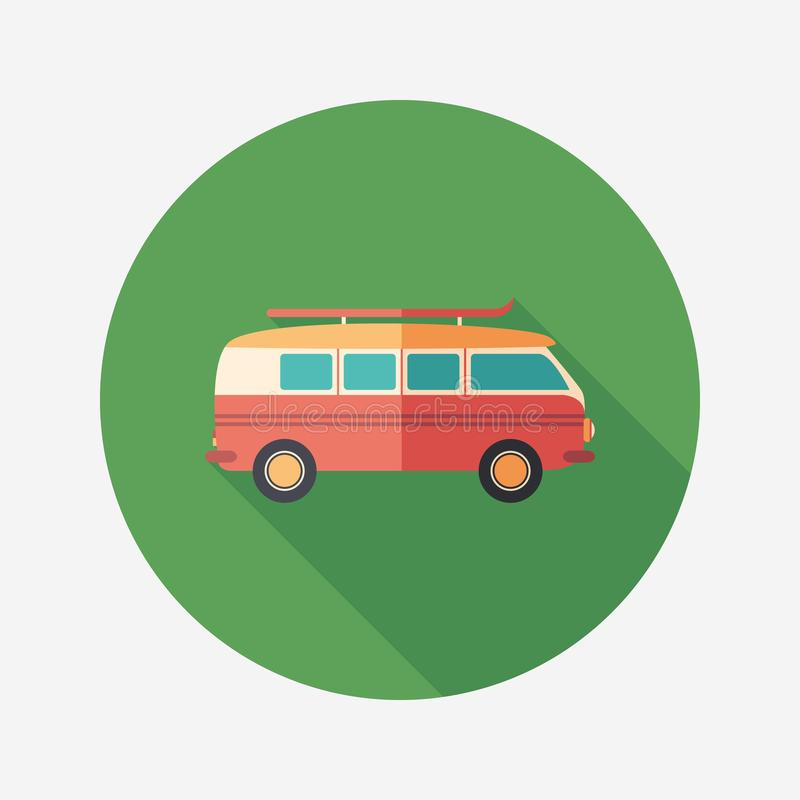 Retro minivan flat round icon with long shadows. vector illustration