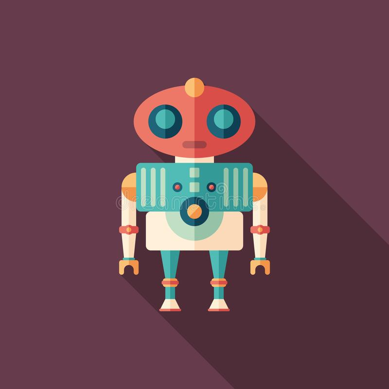 Robot alien flat square icon with long shadows. vector illustration