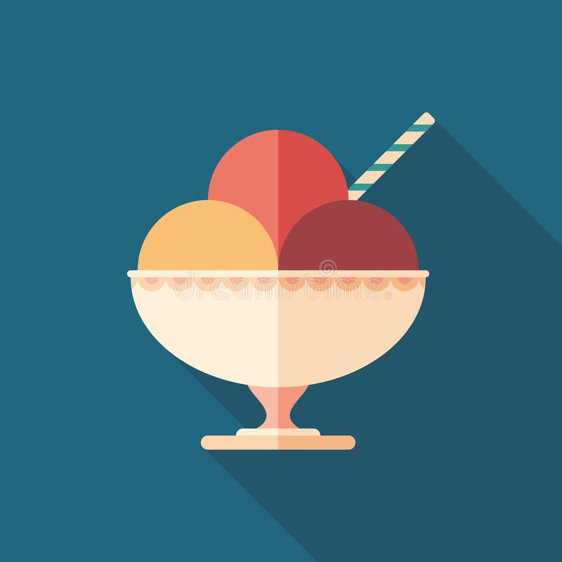 Sorbet in ceramic bowl flat square icon with long shadows. stock illustration