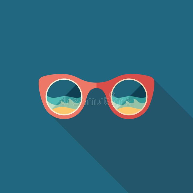 Sunglasses beach reflection flat square icon with long shadows. vector illustration