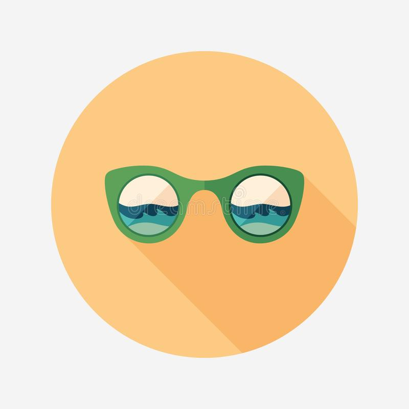 Sunglasses beach reflection flat round icon with long shadows. vector illustration