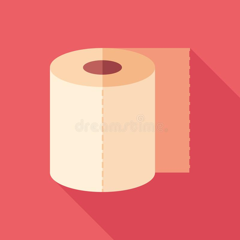 Toilet paper flat square icon with long shadows. stock illustration