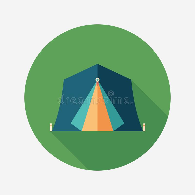 Tourist tent flat round icon with long shadows. royalty free illustration