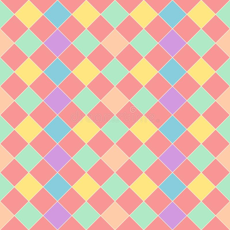 Colorful diagonal square seamless pattern on yellow background vector. Checkered pattern style, punchy pastel color. vector illustration