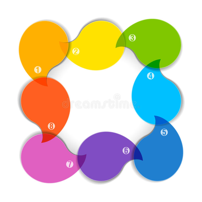Colorful diagram with eight blank boxes vector illustration