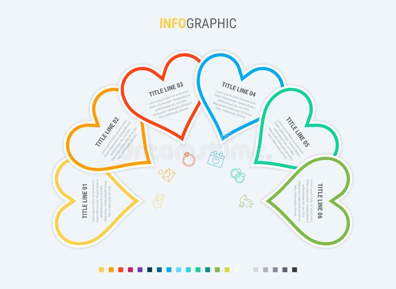 Colorful diagram, heart infographic template. Timeline with 6 hearts. Love workflow process for valentines. Vector design. Love infographic template. 6 steps royalty free illustration