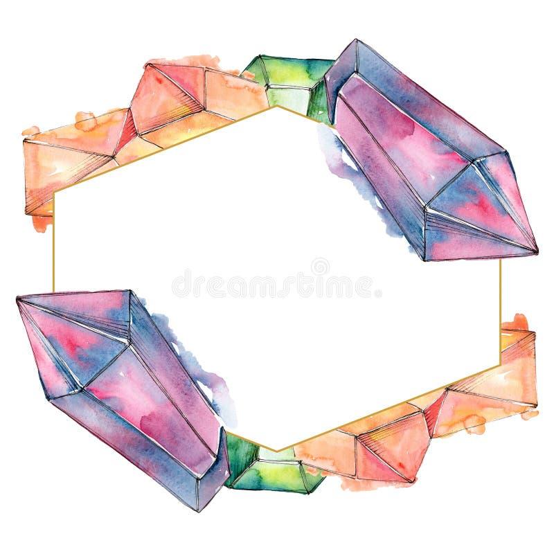 Colorful diamond rock jewelry minerals. Watercolor background illustration set. Frame border ornament square. stock photo