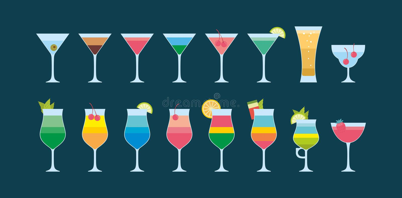 Colorful Different cocktails icon royalty free illustration