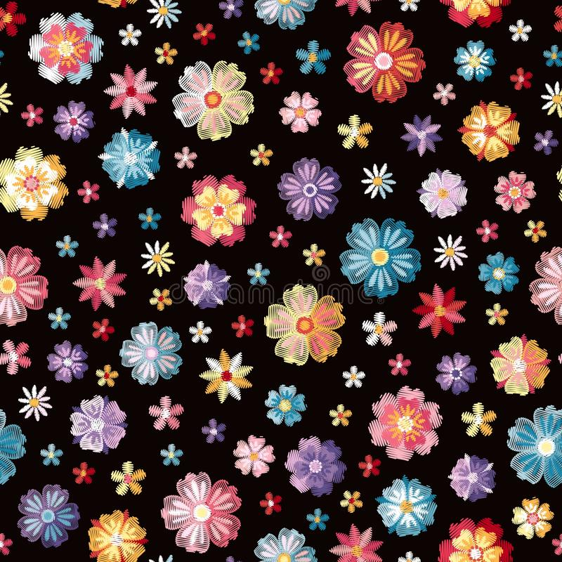Colorful different embroidered flowers on black background. Vector seamless pattern. Floral embroidery royalty free illustration