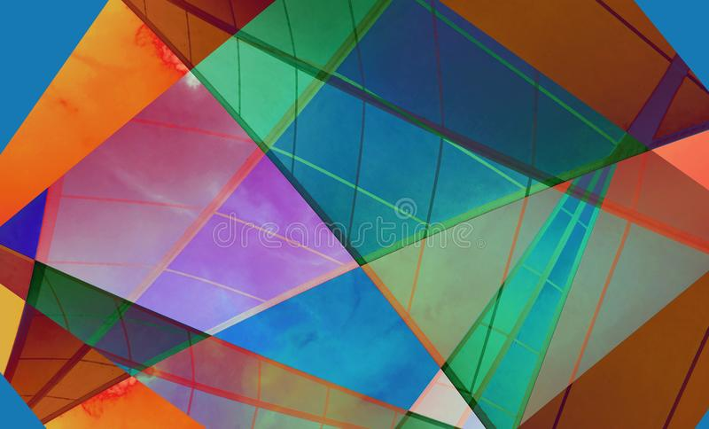 Colorful digital background art made with photo collage technique. Triangles, trapezoid shapes and lines are used royalty free stock image