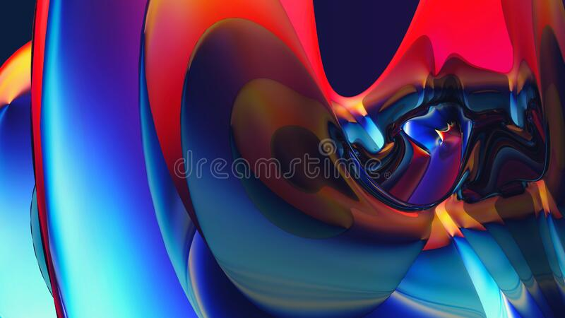 Colorful digital background with beautiful curved surface. Abstract colorful digital background with nice-shaped 3D object with curved glossy surface stock illustration